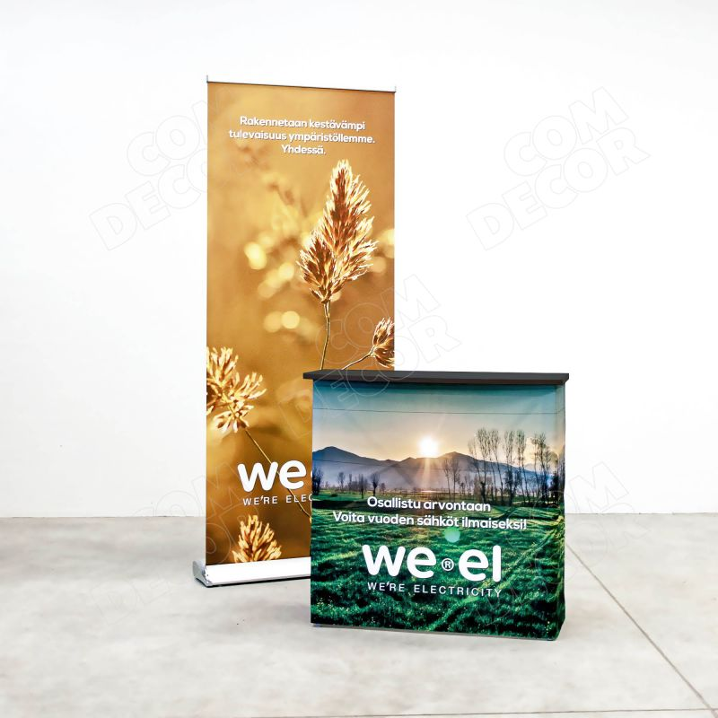 Exhibition counter and roll up banner