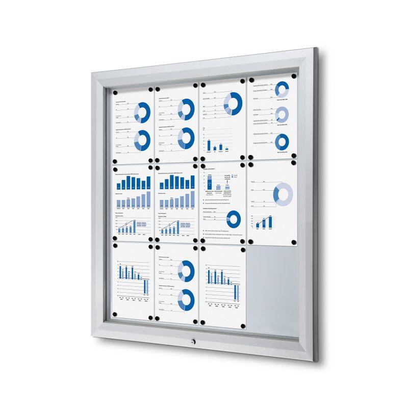 Lockable outdoor notice board / bulletin board 12 A4