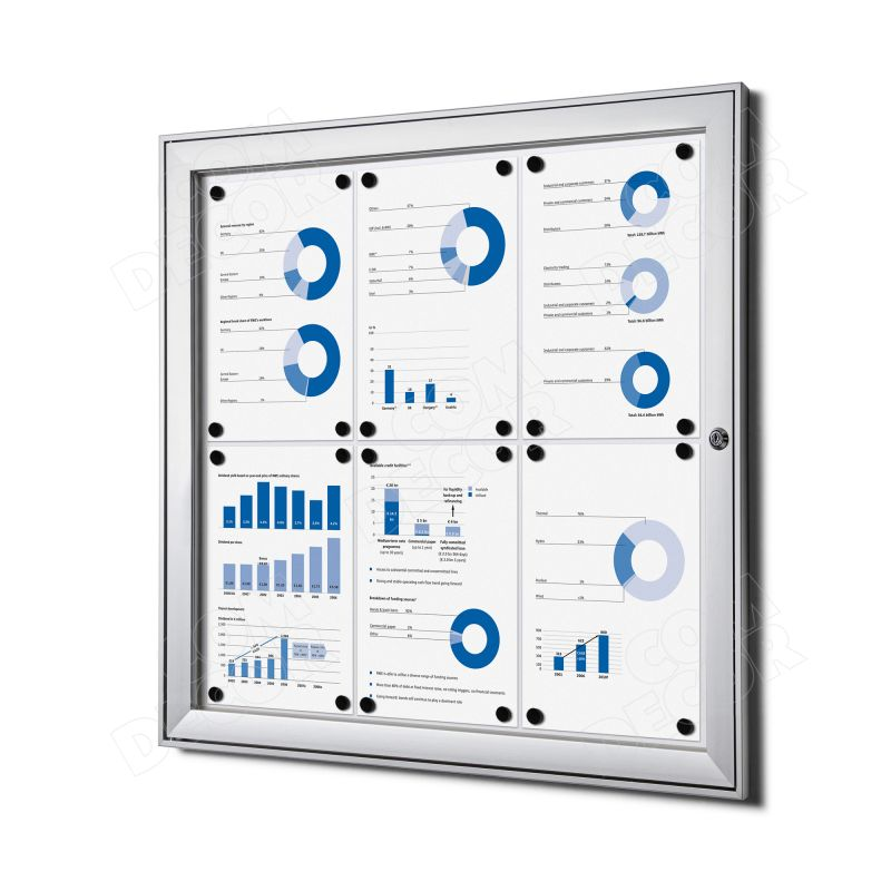 Notice board / bulletin board with door